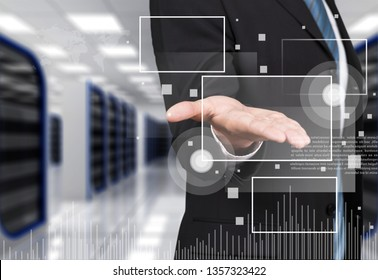 Businessman working on digital chart, business strategy concept