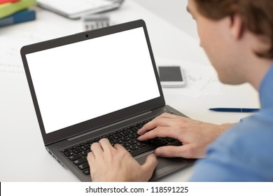 businessman working on his laptop with copy space on a screen