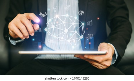 Businessman working on SWOT analysis project for manage financial balance with augmented reality graphics. Concept for start up business, economy, marketing and strategy. 3D illustration.