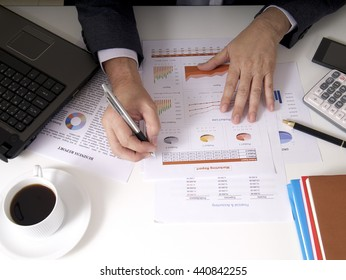businessman working on white desk at the office