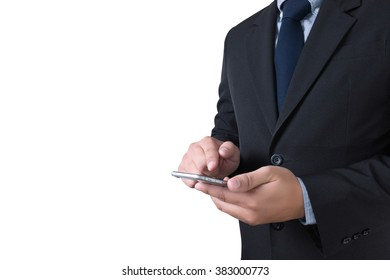 businessman working.  smartphone, isolated