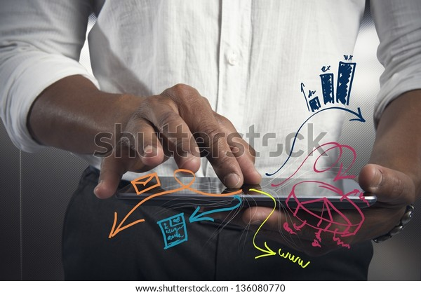 Businessman working with tablet with business task