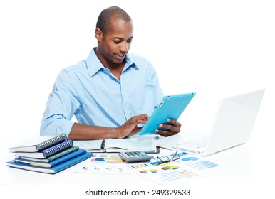 Businessman working with tablet computer isolated white background