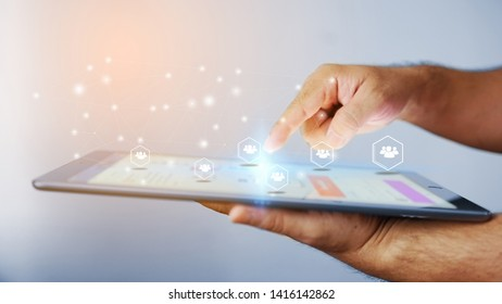 businessman  working with tablet modern technology  as social network concept