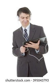 businessman working with tablet pc and headphones, isolated