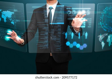 businessman working with transparency screen