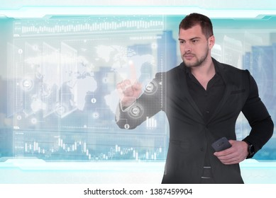 Businessman works with virtual holographic interface. Future technology concept