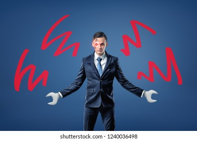 A businessman with wrenches instead of hands and a glowing robotic eye stands near red waves showing his anger. Business and corporate world. Superhuman employee. Cyborg at work.