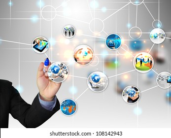 businessman write business world