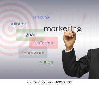 Businessman write keyword success with target on background