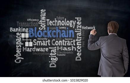 Businessman writes Blockchain cloud on blackboard Concept.