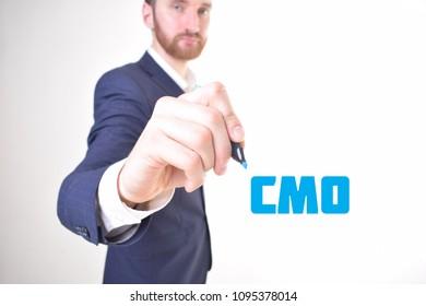 The businessman writes a blue marker inscription:CMO