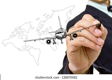 businessman writing air plane with white background