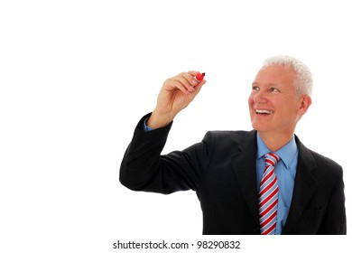 Businessman writing in air with red pen