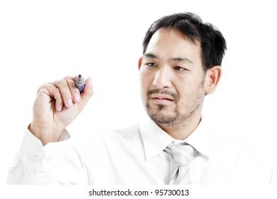 Businessman writing a business plan to get success.