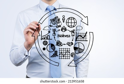 Businessman is writing the flow chart and trying to imply it into a new start up project. A concept of a cycle of the business development.