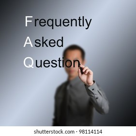 businessman writing frequently asked question ( FAQ ) concept for website service