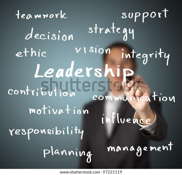 Geschäftsmann, der Führungskompetenz vermittelt