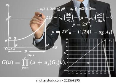 Businessman writing math formulas
