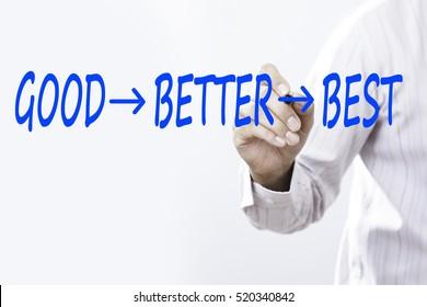 """Businessman writing a motivational concept """"GOOD BETTER BEST"""""""