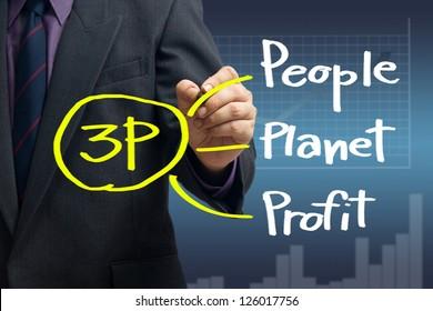 Businessman writing new marketing principle