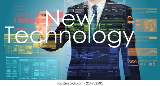 businessman writing New Technology with some modern pattern in background