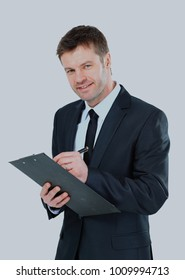 businessman writing on clipboard wear elegant suit and tie.