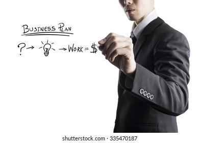 Businessman Writing On Transparent Screen