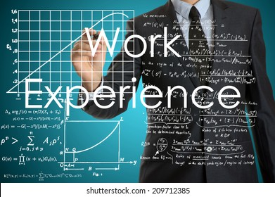 businessman writing on virtual screen with business or technology background - work experience