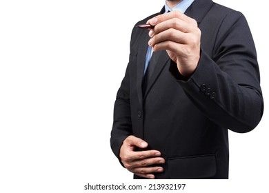Businessman writing with pen on virtual screen isolated on white background with clipping path