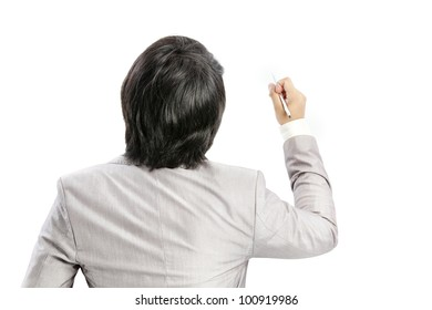 Businessman writing and pen on white background