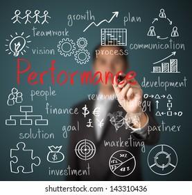 businessman writing performance business scheme