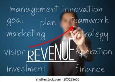 businessman writing revenue growth by business many processes