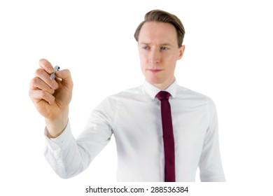 Businessman writing something with pen on white background