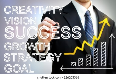 Businessman writing success concepts with rising arrow and bar graph
