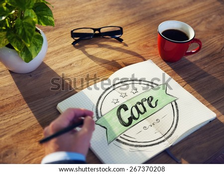 "Businessman Writing the Word ""Care"""
