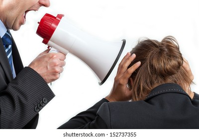 Businessman yelling at his worker, isolated background