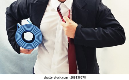 businessman with yoga mat , exercise for good healthy concept