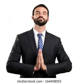 Businessman zen over isolated white background