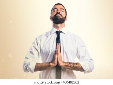 Businessman in zen position