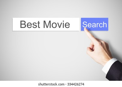 businessmans finger pushing flat search browser button best movie