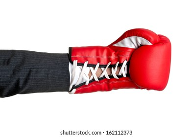 Businessman's hand with a boxing glove