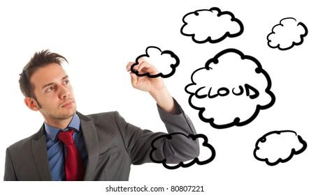 Businessman's hand draw cloud computing diagram