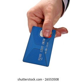 Businessman's hand holding blue credit cards. Isolated on white background