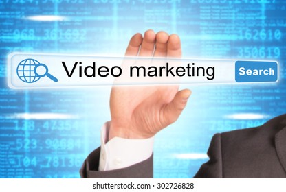 Businessmans hand holding browser on abstract blue background