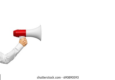 Businessman's hand holding megaphone isolated on white, included clipping path
