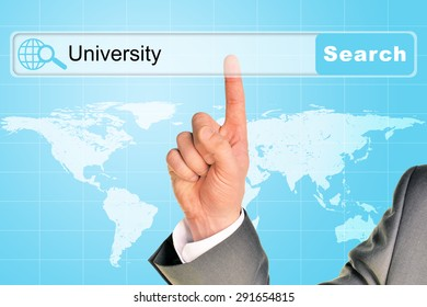 Businessmans hand on abstract blue background with word university in browser and world map