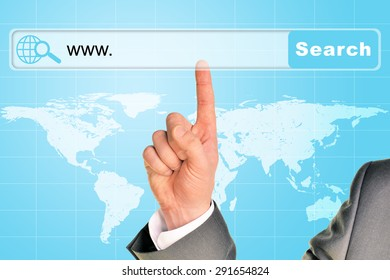 Businessmans hand on abstract blue background with web address in browser and world map