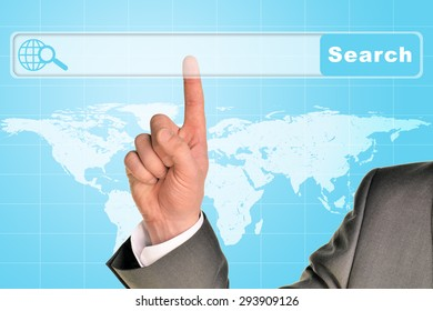 Businessmans hand on abstract blue background with browser and world map