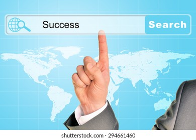 Businessmans hand on abstract blue background with word success in browser and world map
